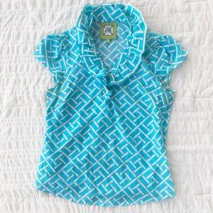 Elizabeth Mckay Print Silk/Cotton Blend Blouse 4